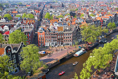 Aerial scenic view of central Amsterdam Stock Photo