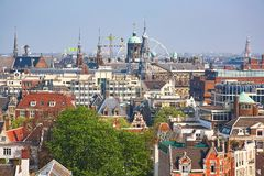 Aerial scenic view of central Amsterdam Royalty Free Stock Photo