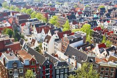 Aerial scenic view of central Amsterdam Royalty Free Stock Photos