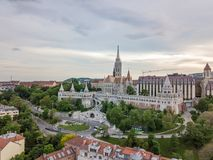 Aerial scenic view of the Fisherman Bastion on Buda side of modern Budapest, Capital city of Hungary.  royalty free stock images