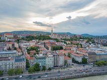 Aerial scenic view of the Fisherman Bastion on Buda side of modern Budapest, Capital city of Hungary.  royalty free stock photography