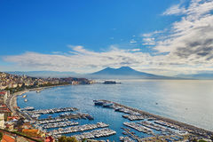 Aerial scenic view of Naples with Vesuvius volcano at sunrise Stock Images