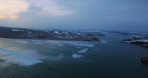 Aerial of sea and island at dusk 4k. Aerial of beautify sea and island at dusk 4k stock footage