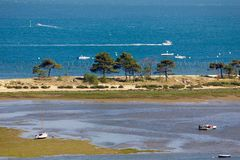 Aerial sea landscape in France. Bassin d`Arcachon landscape at low tide, view from the Cap-Ferret lighthouse on the Dune du Pyla, France Stock Photos