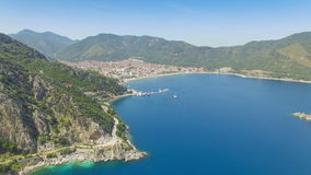 Aerial of sea near Icmeler, Turkey. Aerial view of popular Turkish holiday resort Icmeler, Turkey stock video footage