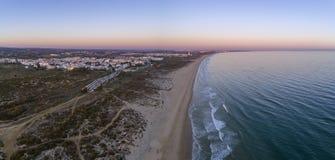 Aerial seascape of famous Montegordo beach, Algarve. Aerial seascape of famous Montegordo beach, Algarve destination. Portugal Royalty Free Stock Image