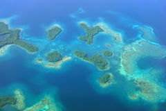 Aerial seascape with islands and coral reef Panama Royalty Free Stock Image