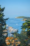 Aerial seascape view to turquoise waters of Adriatic Sea in Island Hvar Croatia. Famous travel sailing destination in Croatia, stock photography