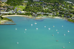 Aerial of seaside town in Whitsundays Australia Royalty Free Stock Image