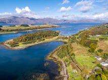 Aerial of secret beach by Portnacroish in autumn, Argyll, Scotland, UK.  stock photo