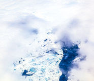 Aerial of sheet of ice floating on the arctic ocean Royalty Free Stock Images