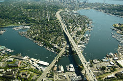 Aerial of Ship Canal and Interstate Bridge. I-5 crossing the Lake Union ship canal north of Seattle - aerial view Stock Photos
