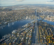 Aerial of Ship Canal and Interstate Bridge Royalty Free Stock Photos