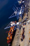 Aerial-ship-loading. An aerial view of a cargo ship being loaded Stock Photography