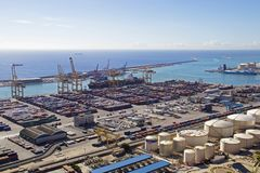 Aerial of shipping containers at Barcelona Port. Aerial of shipping containers and logistics activities at Barcelona Port Royalty Free Stock Photo
