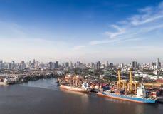 Aerial shipping port Stock Photos