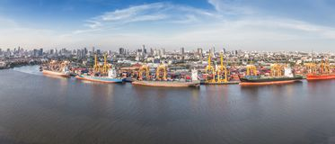 Aerial shipping port Royalty Free Stock Photos