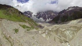 Aerial: Shkhara Glacier in svaneti Rocks. Georgia. stock footage
