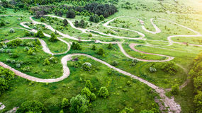 Aerial shoot forest and road Stock Photo
