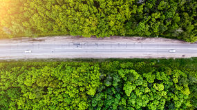 Aerial shoot forest and road Stock Photos