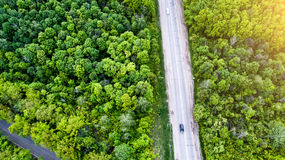 Aerial shoot forest and road Royalty Free Stock Images