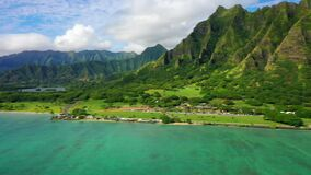 Aerial Shoot, Hawaii, Island Oahu, Kualoa Ranch, Kualoa Regional Park, Pacific Ocean, Kualoa Point Royalty Free Stock Photos