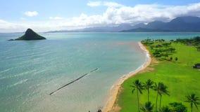 Aerial Shoot, Hawaii, Island Oahu, Pacific Ocean, Kualoa Ranch, Kualoa Regional Park, Kualoa Point Stock Photography