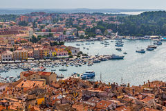 Aerial shoot of Old town Rovinj, Istria, Croatia Royalty Free Stock Image