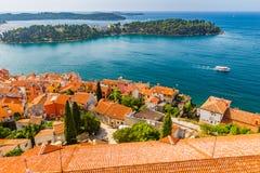 Aerial shoot of Old town Rovinj, Istria, Croatia Stock Photos