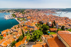 Aerial shoot of Old town Rovinj, Istria, Croatia Royalty Free Stock Images