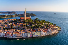 Aerial shoot of Rovinj, Croatia. Aerial shoot of Old town Rovinj at sunset, Istra region, Croatia Stock Photo