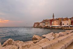 Aerial shoot of Old town Rovinj at sunset, Stock Photo