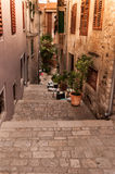 Aerial shoot of Old town Rovinj at sunset, Istra region, Croatia Stock Photo