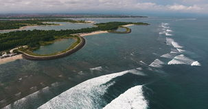 Aerial shoot of the Serangan beach stock video