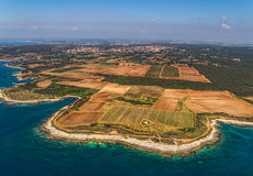 Istria. Aerial shoot of shore of Istria near Pula stock image