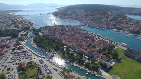 Aerial shoot of Trogir old town. Croatian tourist destination. stock video