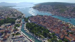 Aerial shoot of Trogir old town. Croatian tourist destination. stock footage