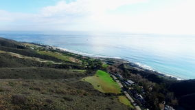 Aerial shooting of Malibu city and forests. Aerial drone shooting of Malibu city and forests stock video footage