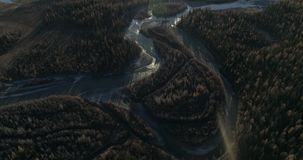 Aerial shooting in river in the Kurai steppe in the Altai stock footage