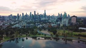 Aerial short of Melbourne Skyline from Albert Park stock video