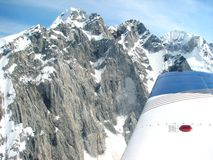 Aerial Shot. Over snow covered mountains Royalty Free Stock Photos