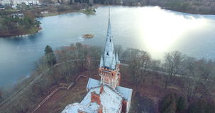 Aerial shot of abandoned Tyszkiewicz manor, a former Lentvaris Manor, Trakai district municipality, Lithuania. Aerial shot of abandoned Tyszkiewicz manor in stock video footage