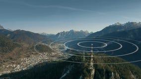 Aerial view of antennas transmitting radio signals in rural mountainous area. Conceptual augmented animation