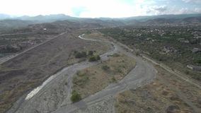 Aerial shot of an arid river stock video footage