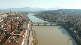 Aerial shot of the Arno river and cityscape of Florence, Italy. Aerial shot of the Arno river and cityscape of Florence stock video footage