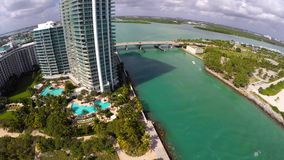 Aerial shot of Bal Harbour stock footage
