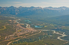 Aerial shot of Banff city royalty free stock photography