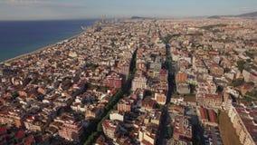 Aerial shot of Barcelona and coastline, Spain stock video