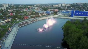 Musical fountain show stock footage