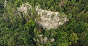 Aerial shot beautiful landscape with forest and cliff stock video footage